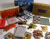 Huge BINGO Collection of Games and Equipment - Vintage Wooden Chips, Cards and Balls for Repurposing