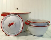 Red on White EnamelWare Collection - Vintage 1940s Set of 5 Pieces - Ultra Shabby Farmhouse