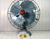 Aqua Blue Diehl Adjustable Fan - Vintage Steel Aircraft Inspired Design - Industrial BoHo Chic Decor