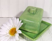 Spring Green Ceramic Covered Cheese Dish - Vintage Handmade 2 Piece Pottery Butter Keeper  - Shabby Chic Farmhouse