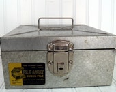 Industrial Metal Check File Box - Vintage Litho Metal Prod. Co. File-A-Way - Retro Security Silver - Original Label and Key