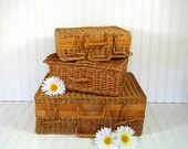 Trio of Graduated Wicker Suitcases - Vintage Hand Woven Picnic Hampers - Shabby Chic Carry Alls