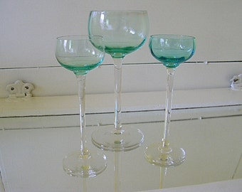 Antique Aquamarine Crystal Stemware Set of 3 - Vintage Handblown Glass Goblets Collection - Wine Glass & 2 Cordial Crystal Stem Glasses