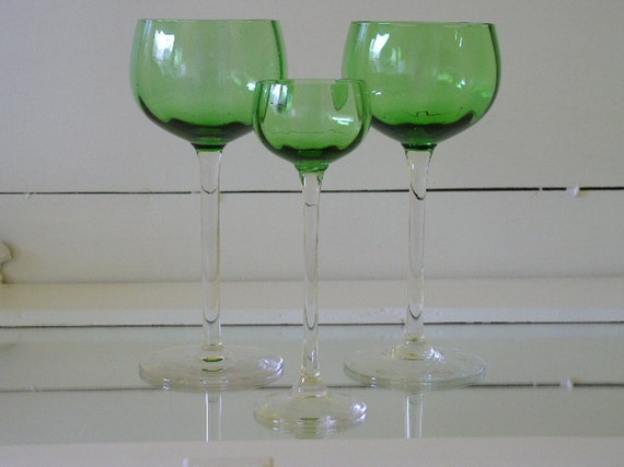 Emerald Crystal Stemware Set of 3 - Vintage Handblown Glass Collection