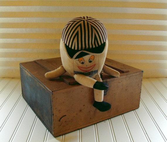 Humpty Dumpty Doll - Vintage Stuffed Character - Ultra Shabby Chic - BoHo Egghead