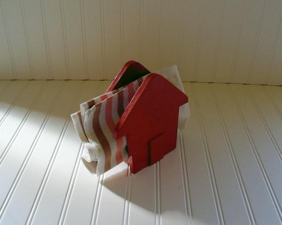 Primitive Wooden Napkin Holder - Vintage HandCrafted - Shabby Chic Chippy Red Orange Paint