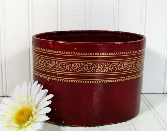Ruby Red Leather with Gold Tooling Desk Bin - Vintage Office Accessory - Shabby Chic Box for Repurposing