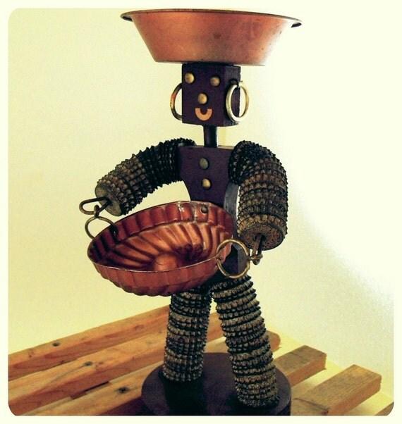 Wooden Bottle Cap Woman - Vintage American Folk Art - BoHo Brown Handmade Figurine