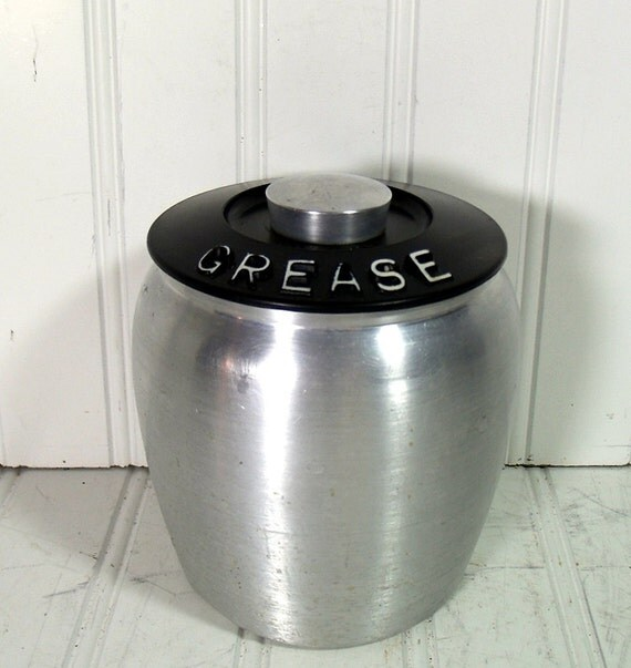 Kromex Grease Can Vintage Spun Aluminum Canister Kitschy