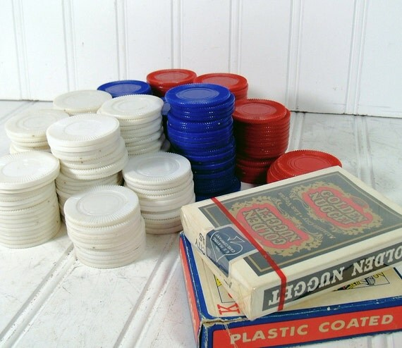 Poker Chips and Cards Collection - Vintage Game Equipment - For Repurposing