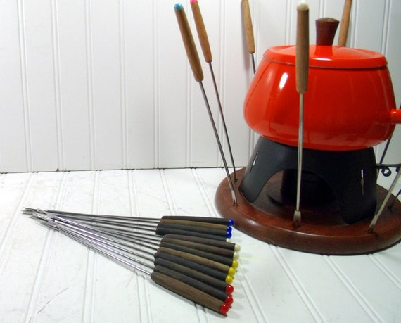 Fondue Party Set of Forks - Vintage 1970s Groovy Colors and Wood - BoHo 12 Piece Serving Collection