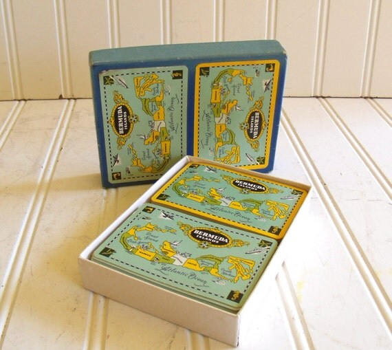 Reserved for Nathalie G - Playing Cards Set of 2 Decks - Vintage Bermuda Islands - Maps in Reverse Colors
