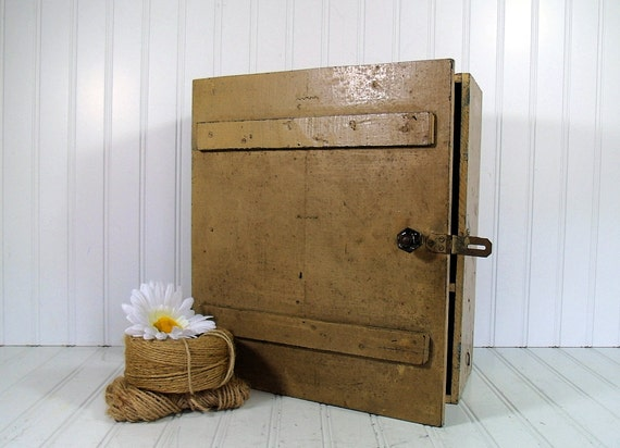 Industrial Wooden Cabinet - Vintage Primitive Handmade Rustic Cupboard - Barn Find