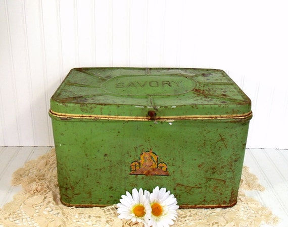 Oversized Savory Metal Bread Box - Vintage Green Decorated Bin - Crusty Rusty Ultra Shabby Chic Tin