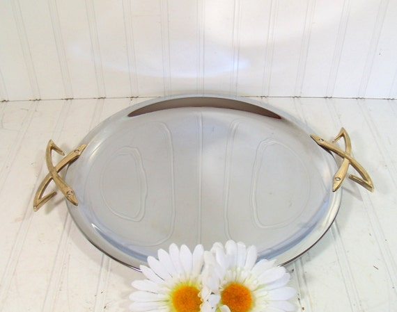 Mid Century Round Chrome Metal Tray - Vintage Kromex Platter - Mad Men Cocktail Party Server