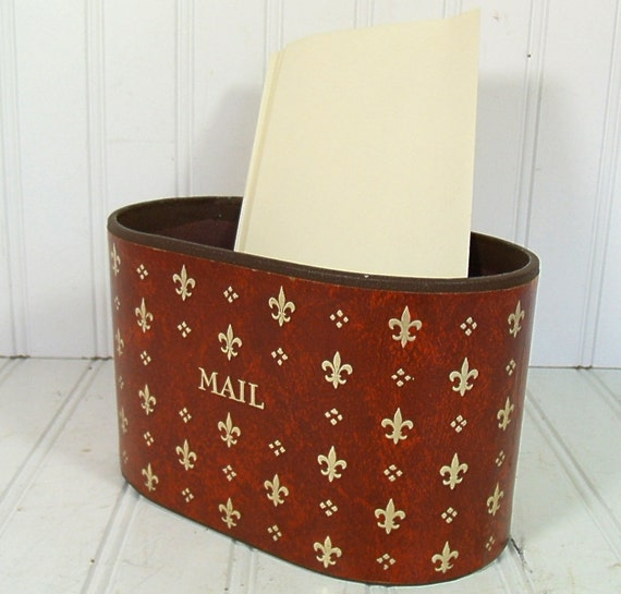 Brown Leather-Look with Gold Tooling Desk Bin - Vintage Office Accessory - Shabby Chic Box for Repurposing