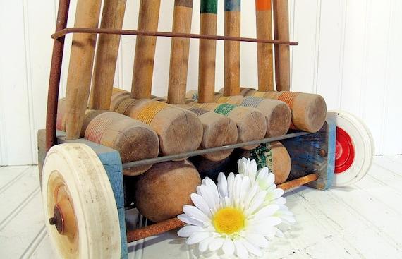 Complete Wooden Croquet Equipment Ensemble - Vintage Sports 23 Piece Set with Rolling Cart - Repurpose Gameroom Decor