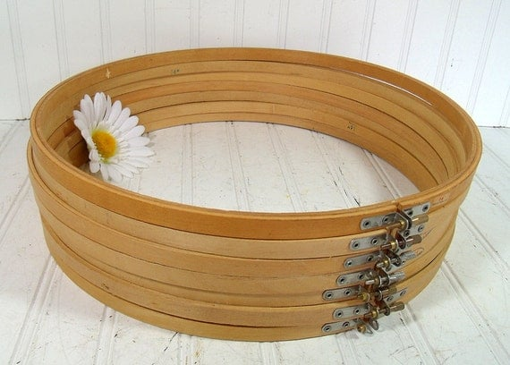 Wooden Round 14 inch Embroidery Hoops Set of 7 - Vintage Sewing Essentials - Repurpose Craft Frames