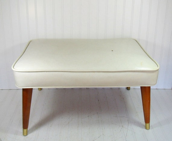 Mid Century Large White Naugahyde Ottoman - Vintage Babcock Phillips Corporation - Modern Oak Atomic Pin Legs