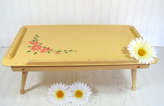 Yellow Wooden Bed Tray Table - Vintage Adjustable Portable Desk Design - Shabby Chic / BoHo Bistro Serving / Display