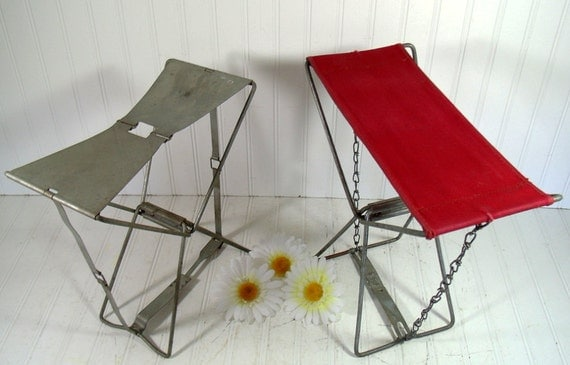 Metal And Canvas Folding Camp Stools Vintage By Divineorders