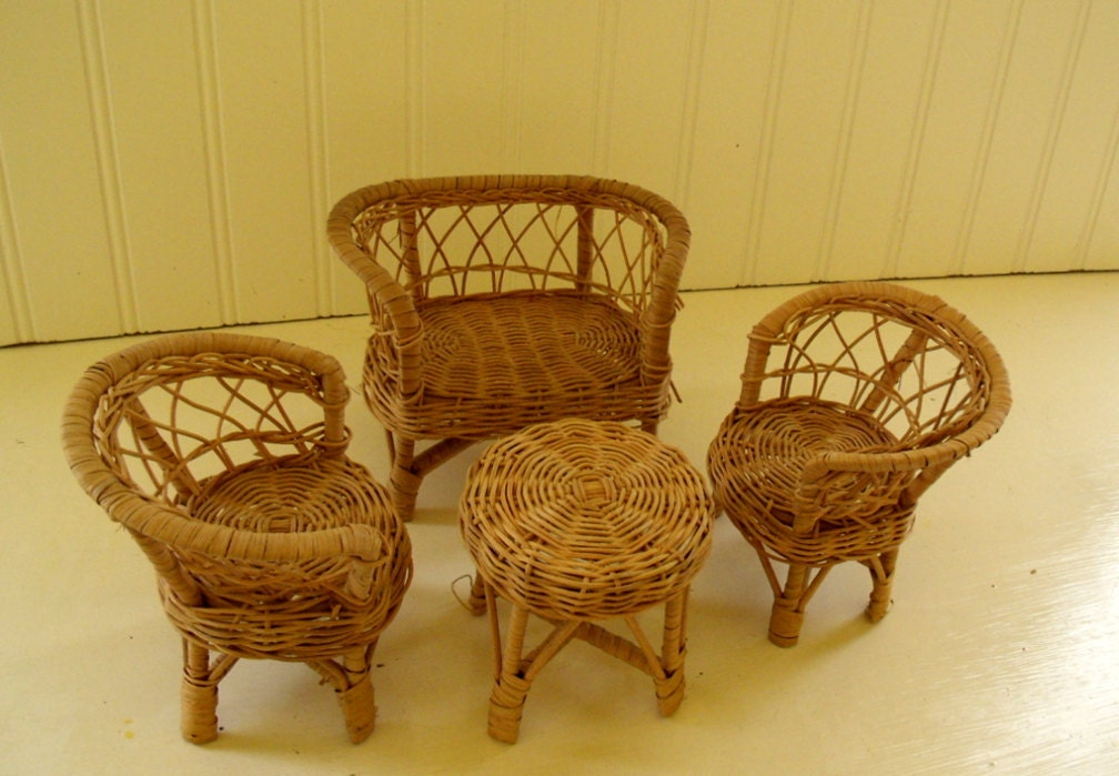 wicker furniture set vintage miniatures 1960s doll size