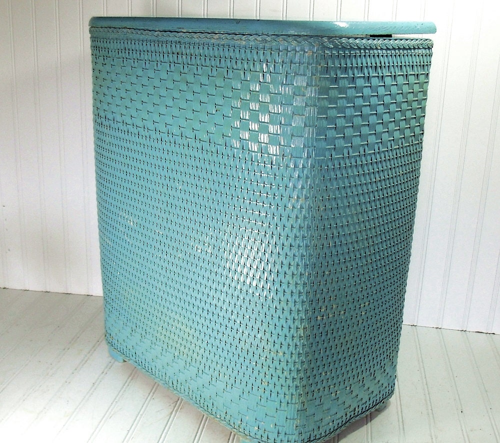 Turquoise Wicker Hamper With Wooden Accents Ultra Shabby