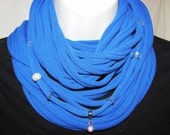 Blue Beaded Upcycled Tshirt Infinity Scarf