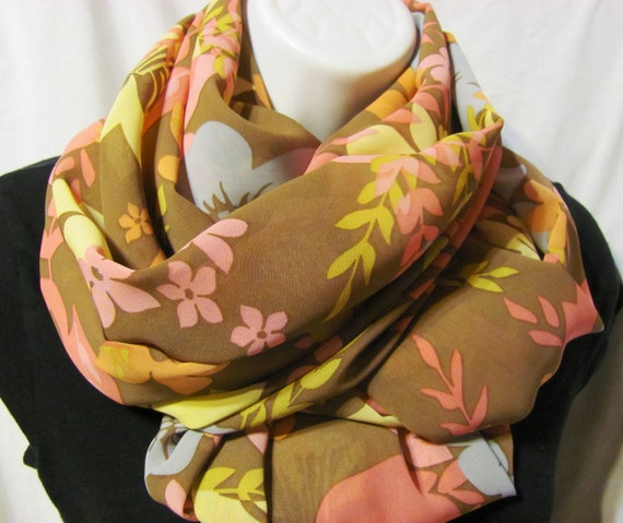 Brown, Pale Blue, Seafoam,Mint, Pink and Orange Floral Print Infinity Scarf