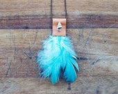 TURQUOISE FEATHERS - necklace