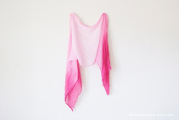 OMBRE FUCHSIA SCARF- hand dyed cotton. lightweight wrap, shawl. Fashion, women accessories. Ombre summer trend