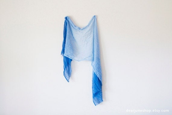 OMBRE BLUE SCARF- hand dyed cotton. lightweight wrap, shawl. Fashion, women accessories. Ombre summer trend