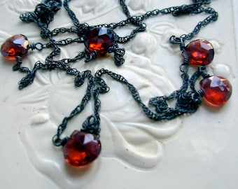 Garnet and Oxidized Sterling Silver Necklace Red Valentine