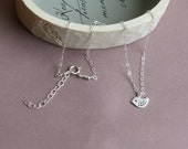 Speckled Mini Bird -- 925 Sterling Silver Chain -- Silver Choker Necklace