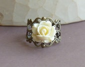 Antiqued Brass Lace Adjustable Ring with Cream Resin Rose -- Vintage Style Ring