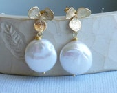 Gold Orchid with Freshwater Coin Pearl  -- Gold Earrings with Sterling Silver Posts