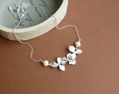 Three Silver Orchids Necklace with Freshwater Round Pearls and Sterling Silver Chain