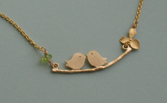 Love Birds with Orchid and Peridot Gold Necklace - Free Shipping (domestic US)