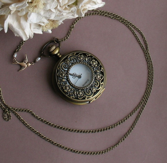 Victorian Garden -- Long Chain Golden Swallow and Pocketwatch Necklace -- Antiqued Brass Necklace