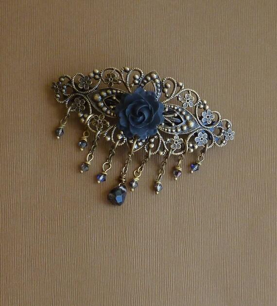 Vintage Style Black Rose and Crystals Seville Barrette -- Antiqued Brass Hair Barrette