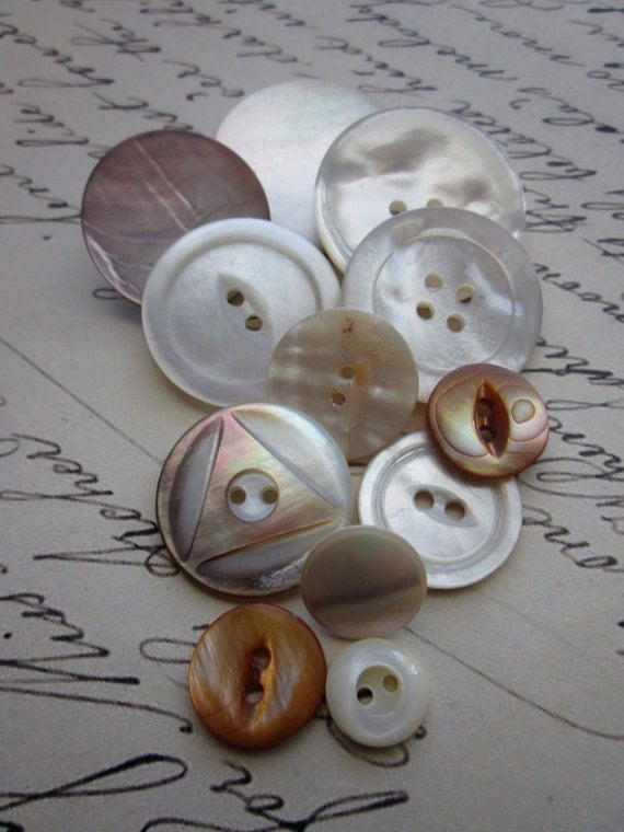Vintage Mother Of Pearl Button Collection -Harvet Moon Glow Tones- Hand Carved