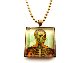 "Vintage Medical ""Grody Anatomy"" Pendant--Creepy Medical Images Glass Pendant--""The Head Shot"" in Vintage Copper--With FREE Chain"