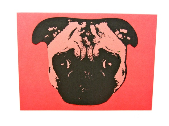 Litho-Pug Notecard  -- Great gift for a Pet-Lover -- Card and Envelope -- Ready to Gift or Use--Blank Inside