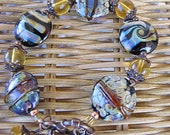 Reserved For Ruth - Raku Lampwork bracelet