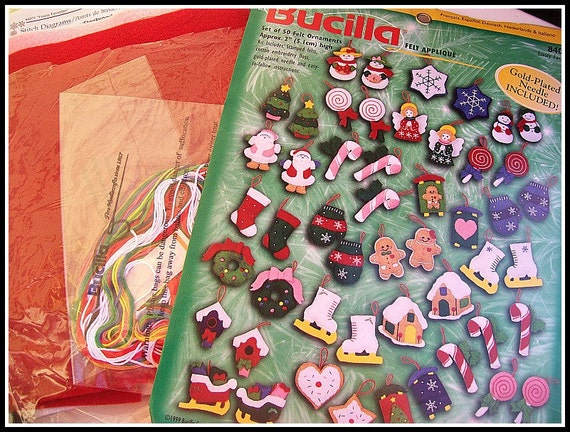 Vintage Bucilla Felt Christmas Ornaments Kit complete with FLoss, Felt and Patterns