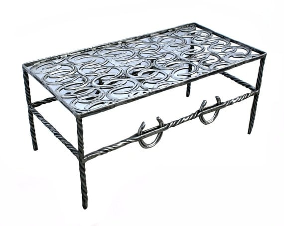 Items Similar To Horseshoe Coffee Table With Glass Top On Etsy
