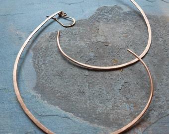 Moon Hoops - Hammered Copper Hoops