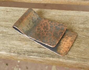 Men's Hammered Copper Money Clip - Antiqued Finish