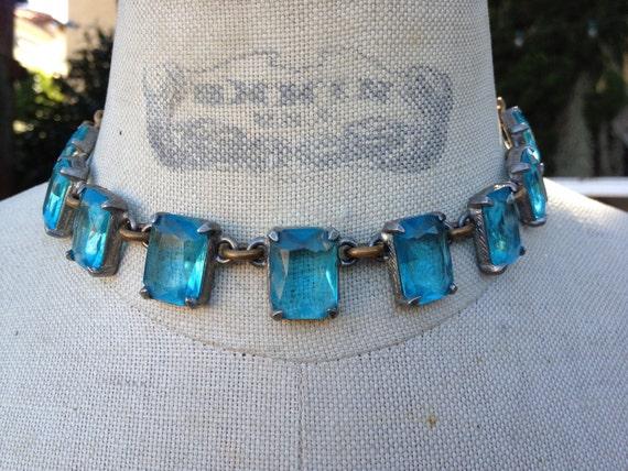 Gorgeous Antique Aqua Blue open back bezel Necklace