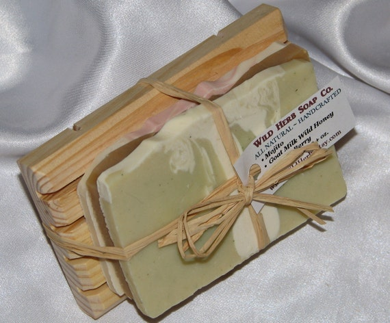 Natural Soap Dish Gift Set - 3 Slice Variety Pack of Wild Herb Soap - PLUS- Pine Wood Soap Dish